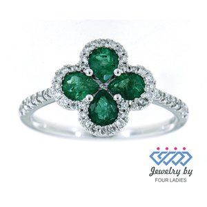 Solid Emerald Pear Diamond Floral Ring White Gold